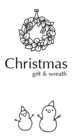 Christmas gift and wreath